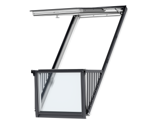 VELUX - GDL SK19 SD0W001 - Single white-painted CABRIO balcony, triple glazing, tile, 114x252