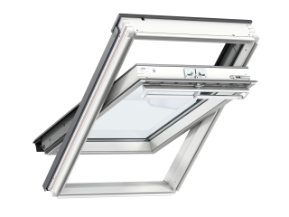 VELUX - GGL MK06 S10W02 - WP centre-pivot RW, insulated tile flashing, beige duo-blackout blind